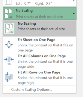 Excel print options for scaling